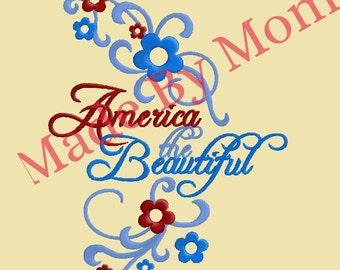 America the Beautiful Swirls and Flowers