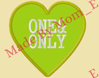 Conversation Heart Applique - ONE & ONLY