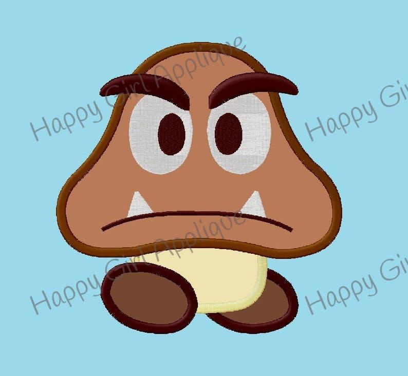 Mario Brothers Bad Mushroom Goomba Applique Etsy