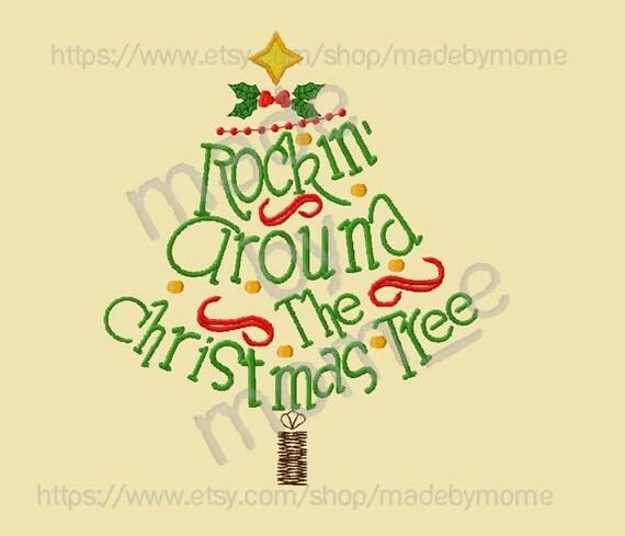 Rockin Around The Christmas Tree.Rockin Around The Christmas Tree Embroidery 2 Design Set