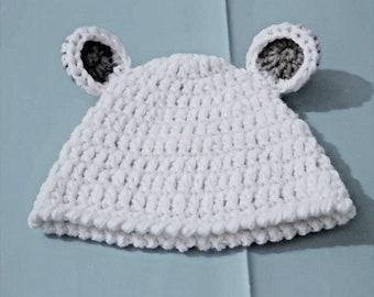 Cappello di lana per bambini a maglia crochet cappello neonato regalo  berretto bianco 76d454462931