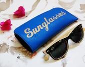 glasses case, Royal blue sunglasses case, leather sunglasses case, sunglasses holder,, eye wear cases