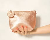 Rose gold leather purse, small shoulder bag, crossbody bag, women leather purse, Rose gold evening clutch, gift for her