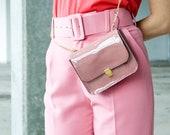 Saddle Bag, Shoulder Bag, Leather, Box Bag, leather Crossbody bag, pink  Clutch Bag, Limited edition bag, Pink box bag