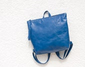 Blue leather backpack, Metropolitan backpack, backpack for women, leather school bag, women's backpack, black leather bag, READY TO SHIP