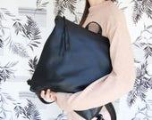 Laptop backpack, Black leather backpack, backpack for women, leather school bag, womens backpack, black leather bag, student backpack, SALE