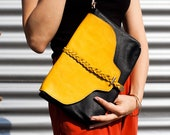 Black Leather Clutch with Mustered Leather Braid detail, evening bag , Black clutch