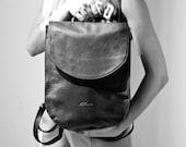 Black half moon leather backpack, Women's leather bag, Large black leather backpack for women,
