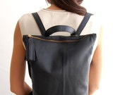 Small black leather backpack, backpack for women, small leather bag, women's black backpack, black leather bag