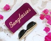 Sunglasses case, leather sunglasses case, purple sunglasses holder, glasses cases, eye wear cases