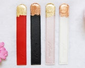 White Leather bookmark, wedding gift, copper leaf detail bookmark, book lover, bookmarks, handmade bookmark