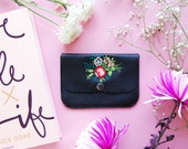 Leather coin purse, embroidery purse, flower embroidery, coin purse, credit card holder, mother's day