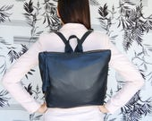 Black leather backpack, Metropolitan backpack, backpack for women, leather school bag, women's backpack, black leather bag, READY TO SHIP