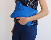Royal blue leather purse, valentine's day gift for her, Large leather clutch for women, Blue evening purse