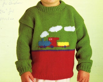 "baby childrens train sweater knitting pattern PDF train motif jumper railway 22-26"" DK light worsted 8ply pdf instant download"