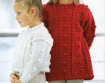 CROCHET PATTERN girls crochet sweater girls crochet jumper crochet tunic pattern 22-30 inches DK Girls Crochet Patterns pdf Instant Download