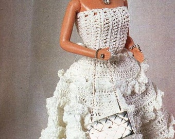 Barbie Crochet pattern PDF Barbie dress teenage doll clothes fashion doll outfit thread crochet cotton Instant Download