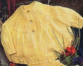 baby matinee coats knitting pattern pdf download matinee jackets baby cardigans lace yoke 1-12mths QK 4 ply knitting pattern pdf download