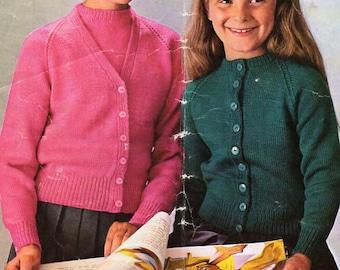 "vintage girls 4ply twinset sweater cardigan knitting pattern PDF 4 ply childrens jumper jacket twin set 26-30"" PDF instant download"