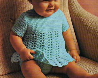 "Baby Crochet Dress Pants baby Crochet pattern PDF Download Crocheted Dress Baby Girls Lacy Dress Baby dress 18-24"" DK Light Worsted 8 Ply"