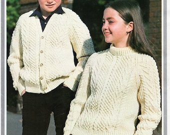 a470796d51899 vintage childrens aran sweater cardigan knitting pattern pdf childs cable  jumper jacket 20-30