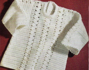 "Baby Crochet Dress baby Crochet Pattern PDF Download Baby Girls Crochet Dress Crocheted Dress Long Sleeve dress 22"" DK Light Worsted 8 Ply"