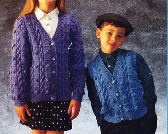 "childrens cardigan waistcoat knitting pattern pdf cable boblle jacket gilet vest 22-32"" DK 8ply pdf instant download"