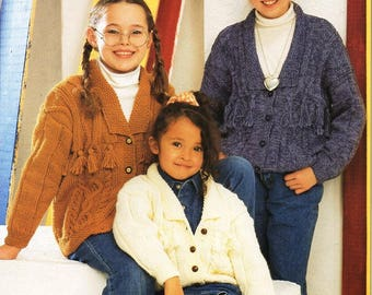 "girls aran jacket knitting pattern pdf childrens cable cardigan with collar 22-34"" aran worsted 10ply pdf instant download"