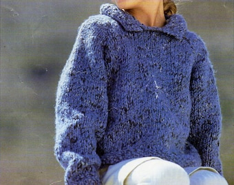 childrens super chunky sweater knitting pattern pdf super bulky jumper with collar 22-30inch super chunky super bulky 16ply Instant download