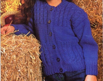 "childrens cable cardigan knitting pattern pdf childs chunky jacket pockets 24-32"" chunky bulky pdf Instant Download"