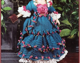 doll knitting pattern pdf Georgian dress crinoline outfit period costume 15 inch teenage doll DK light worsted 8ply Instant Download