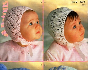 baby hats knitting pattern pdf baby lacy 4 ply bonnets 0-6mths baby DK helmets 9-15mths ear flaps 4 ply 8 ply pdf instant download