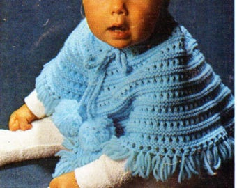baby poncho with hood knitting pattern pdf babies hooded poncho DK light worsted 8ply pdf Instant download