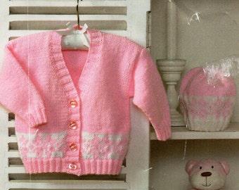 40f8cfab602a Vintage baby fair isle waistcoat cap jumper knitting pattern