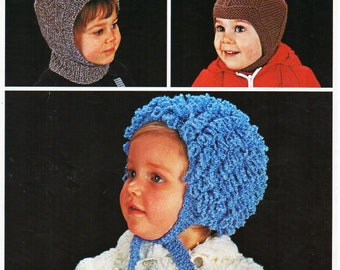 baby loopy hat balaclava helmet knitting pattern pdf baby hats bonnets caps loop  stitch hat DK light worsted 8ply pdf instant download e40e8c88827