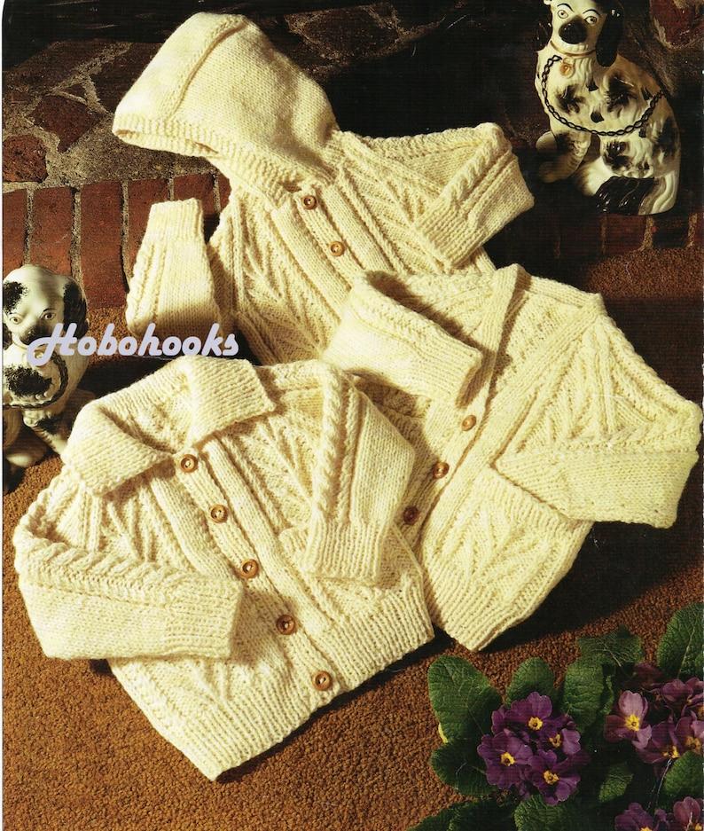 b51095fc5d5c Baby childs childrens aran cardigans knitting pattern PDF