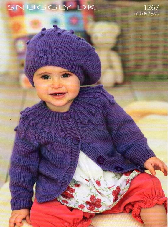 "BABY 0-7 yrs  BOYS GIRLS SHAWL NECK JUMPER Knitting Pattern  DK 16-26/"" 100"