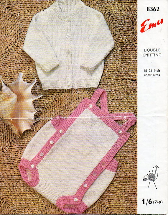 84e29bbc1 Baby Cardigan Rompers Baby Knitting Pattern PDF Download