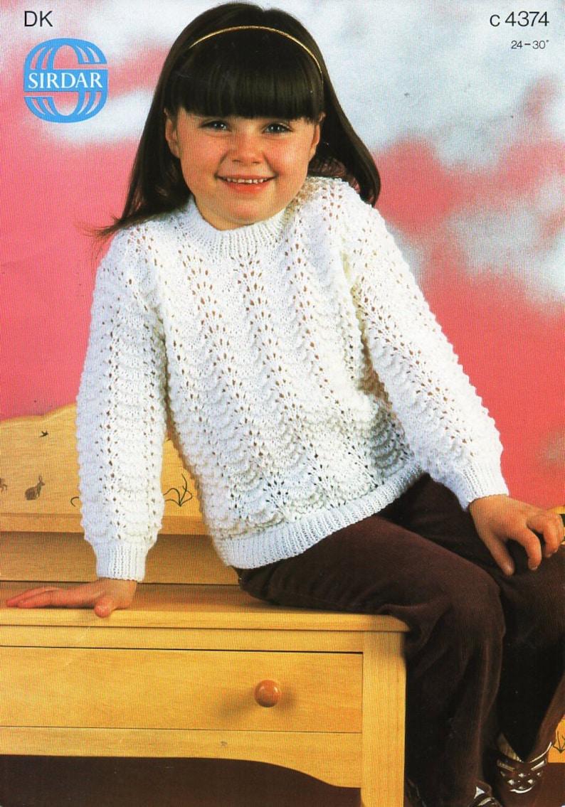 Girls sweater knitting pattern pdf DK childrens lacy ...