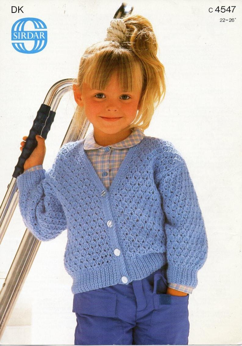 Girls cardigan knitting pattern pdf DK childrens lacy ...
