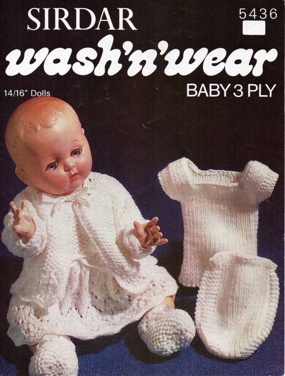 Baby Doll Clothes Knitting Pattern Layette Matinee Set Matinee Etsy