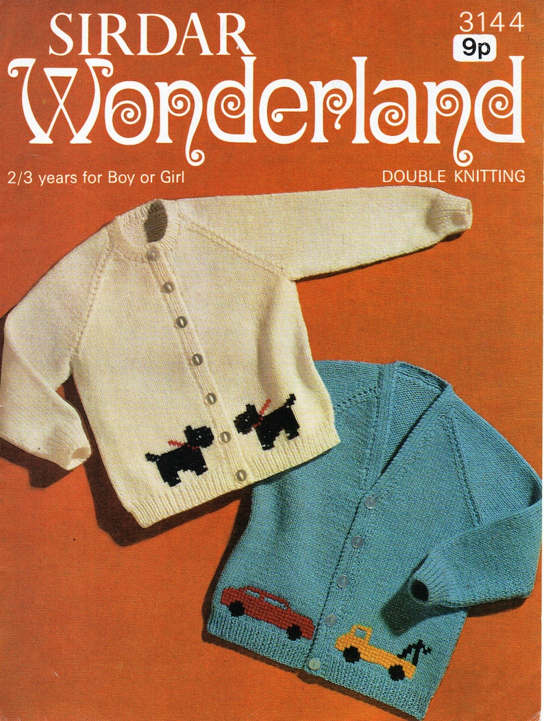 8f76863c3473 Vintage baby cardigan knitting pattern pdf dog motif car motif