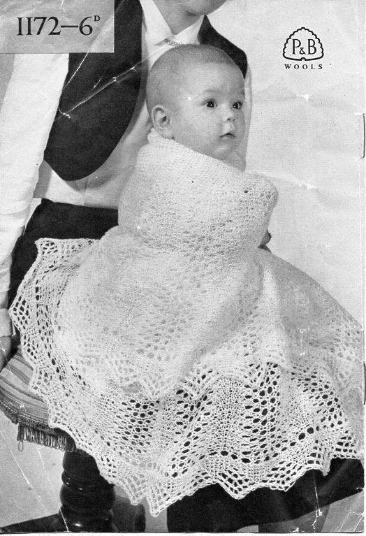 0b8afb39f Vintage baby 2ply shawls knitting pattern PDF baby shawl