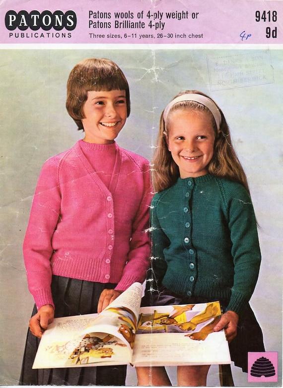 vintage girls 4ply twinset sweater cardigan knitting pattern | Etsy