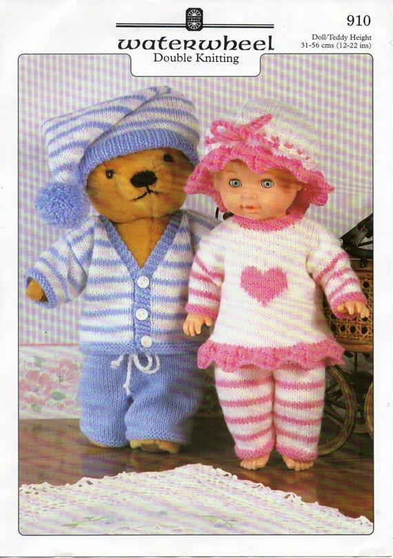 Baby Dolls Clothes Knitting Pattern Dolls Pyjamas Teddy Bear