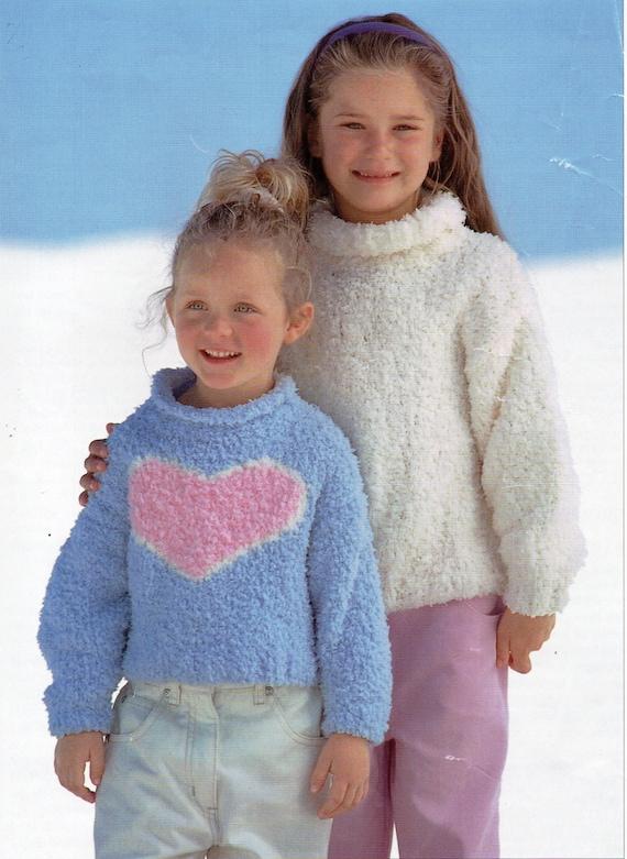 Girls Heart Motif Sweater Knitting Pattern Pdf Chenille Jumper Etsy