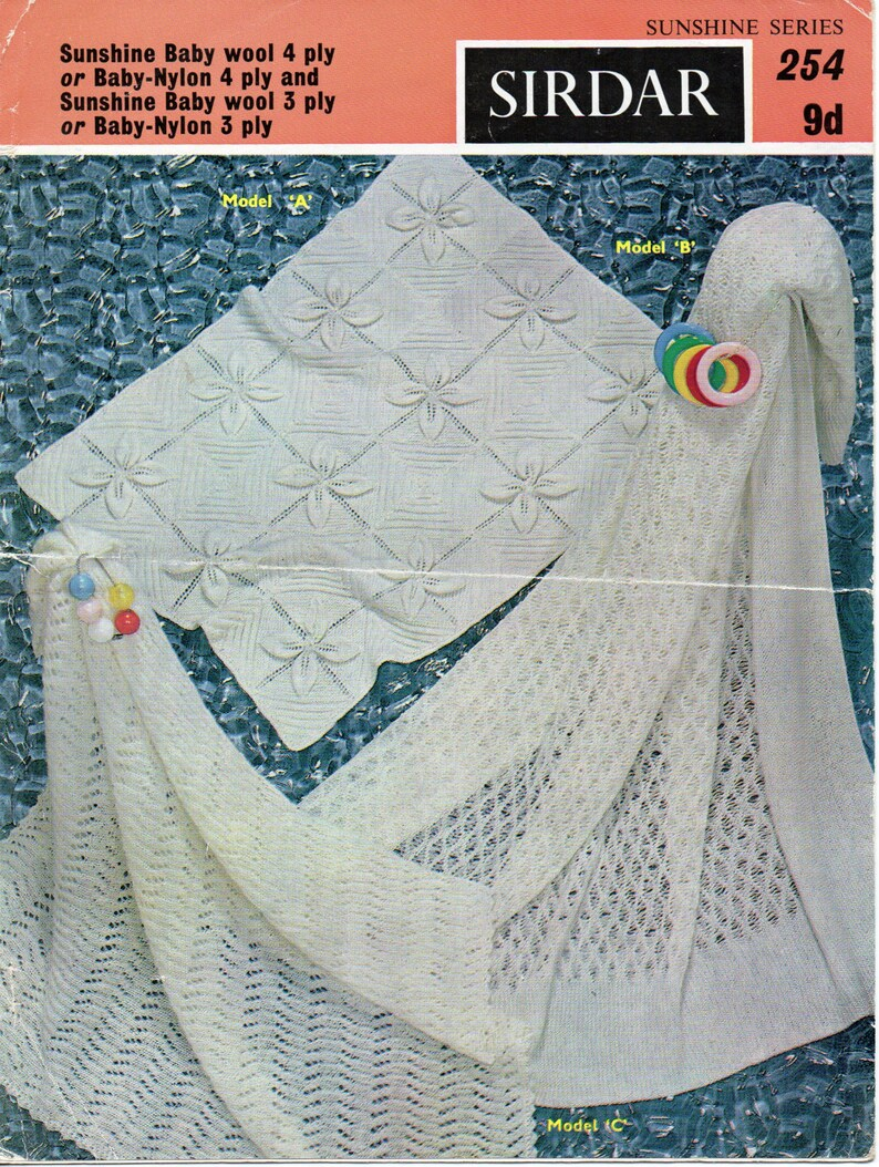 bf481bcc2fa4 vintage baby 4ply leaf pattern blanket 3ply shawl knitting pattern pdf  Christening Baptism square shawl pdf instant download