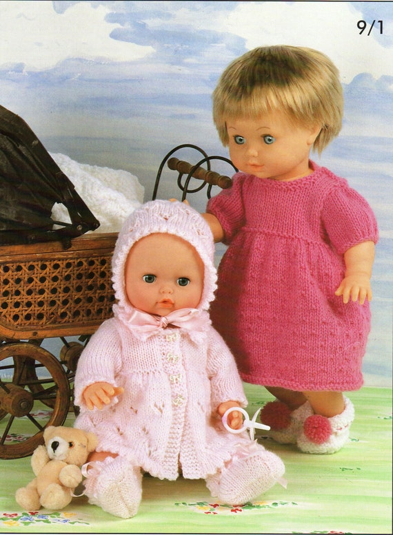 """KNITTING PATTERN BABY DOLLS CLOTHES DK COAT HAT SHOES 12-22/"""""""