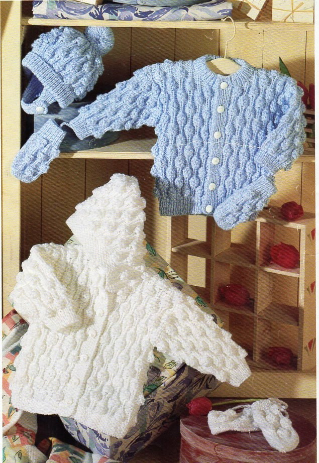 baby childrens cardigans knitting pattern PDf hooded ...