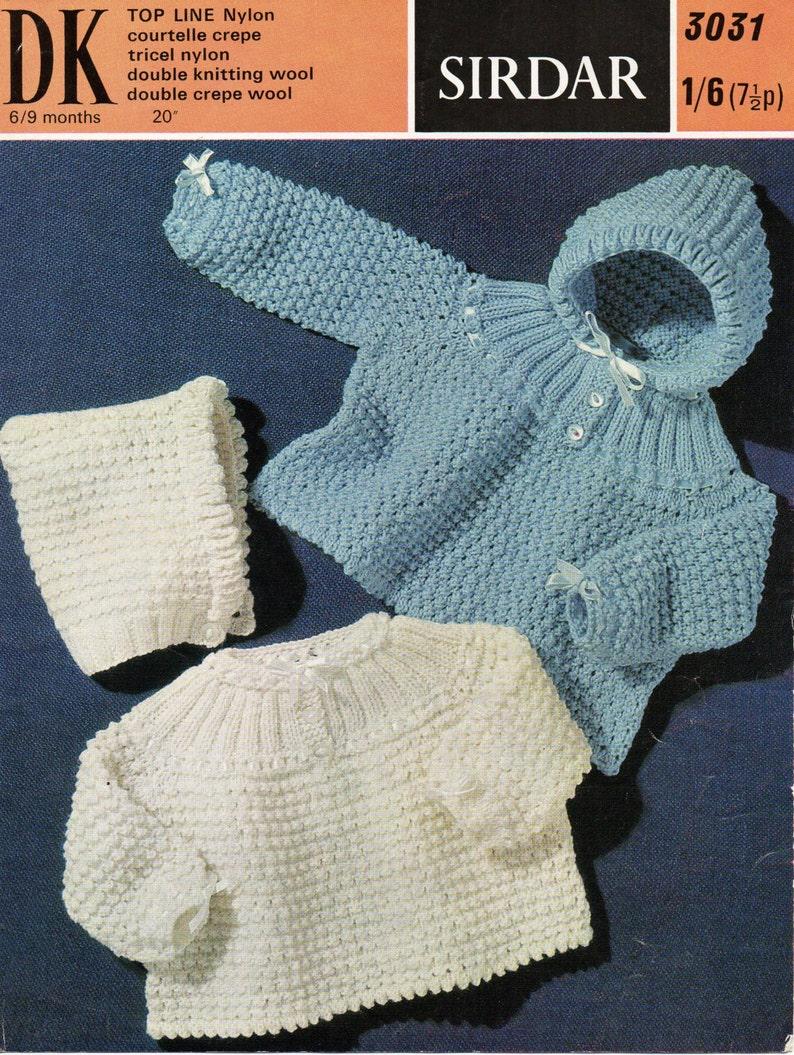 474baa871a0b Vintage baby hooded sweater coat knitting pattern PDF Jumper